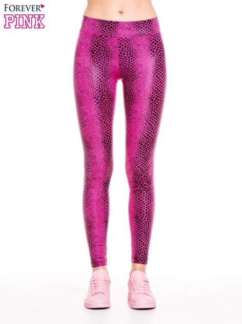 Różowe legginsy z efektem skóry krokodyla