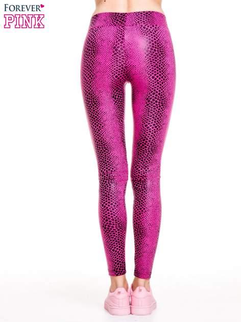 Różowe legginsy z efektem skóry krokodyla                                  zdj.                                  4
