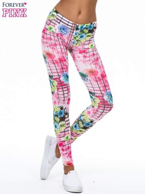 Różowe legginsy z kraciastym nadrukiem                                  zdj.                                  1