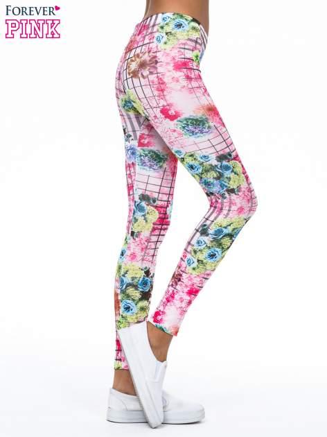 Różowe legginsy z kraciastym nadrukiem                                  zdj.                                  4