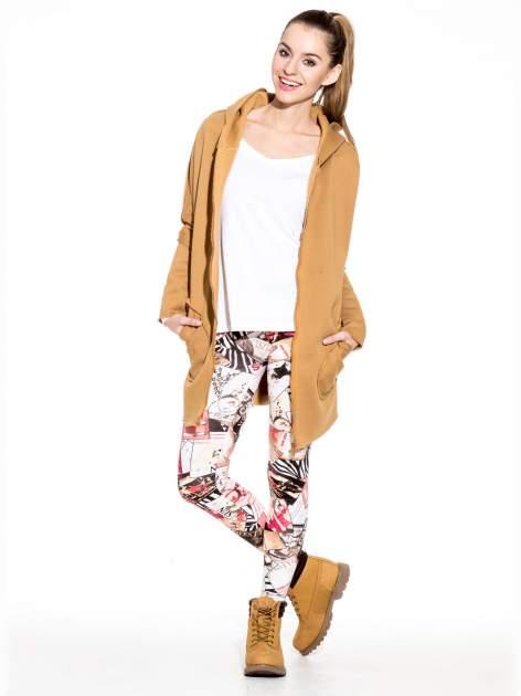 Różowe legginsy z nadrukiem magazines print                                  zdj.                                  9