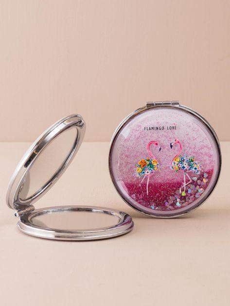 Różowe podwójne lusterko z brokatem