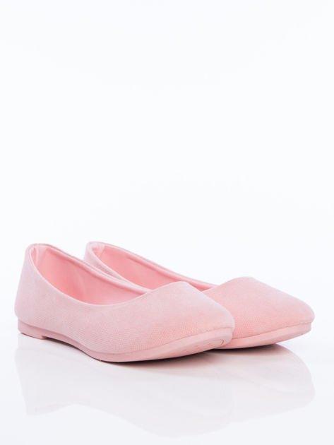 Różowe półażurowe baleriny z migdałowym przodem                                  zdj.                                  2