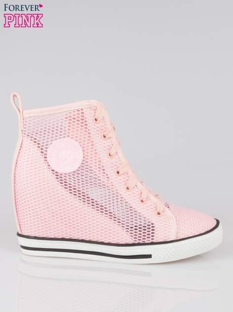Różowe siateczkowe sneakersy damskie                                  zdj.                                  1