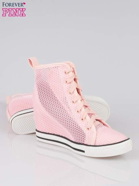 Różowe siateczkowe sneakersy damskie                                  zdj.                                  4