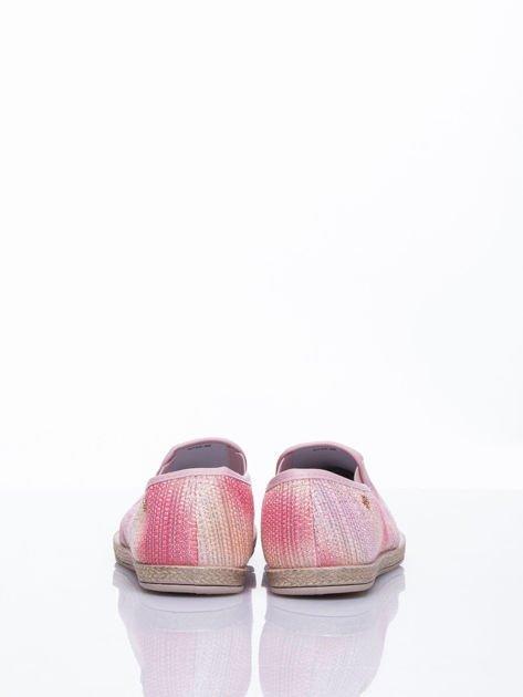 Różowe sliponki material Stardust ombre na słomkowej podeszwie                                  zdj.                                  5