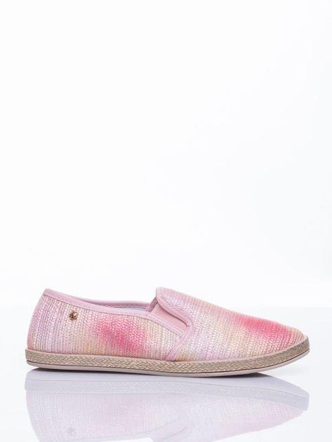 Różowe sliponki material Stardust ombre na słomkowej podeszwie                                  zdj.                                  2