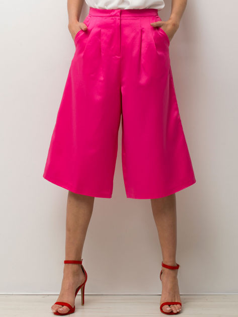 Różowe spódnicospodnie typu culottes                                  zdj.                                  1