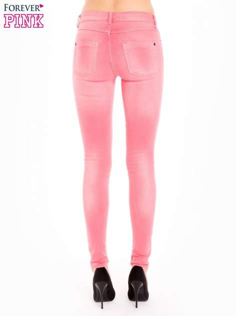 Różowe spodnie jeansowe super skinny                                  zdj.                                  4