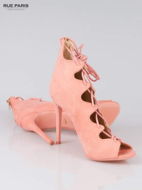 Różowe wiązane szpilki lace up z zamkiem Lauren                                  zdj.                                  4