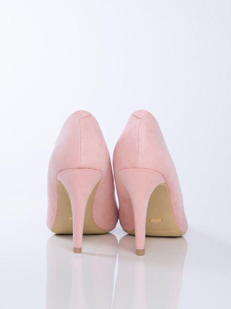 Różowe zamszowe czółenka z migdałowym noskiem                              zdj.                              3