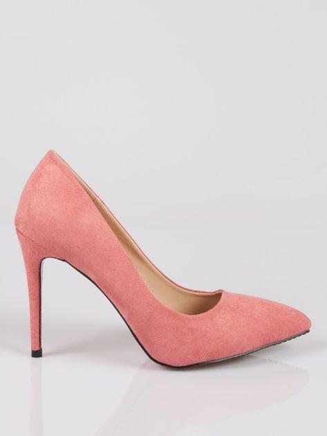 Różowe zamszowe szpilki w szpic faux suede                                  zdj.                                  1