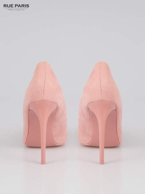 Różowe zamszowe szpilki w szpic  faux suede                                  zdj.                                  3