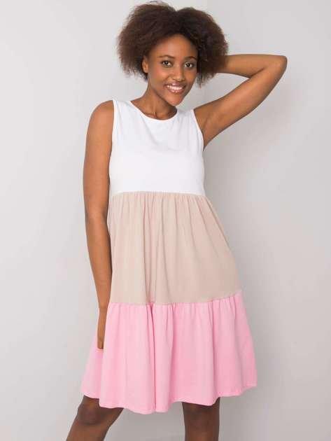 Różowo-beżowa sukienka z bawełny Sheyla RUE PARIS