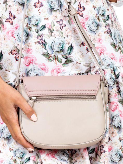 Różowo-beżowa torebka listonoszka ze skóry ekologicznej                              zdj.                              4