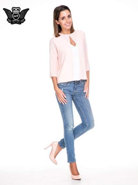 Różowo-biała dwuwarstwowa koszula o kroju narzutki                                  zdj.                                  2
