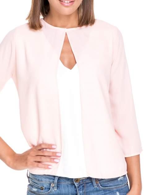 Różowo-biała dwuwarstwowa koszula o kroju narzutki                                  zdj.                                  6