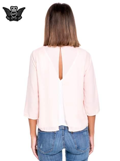 Różowo-biała dwuwarstwowa koszula o kroju narzutki                                  zdj.                                  4
