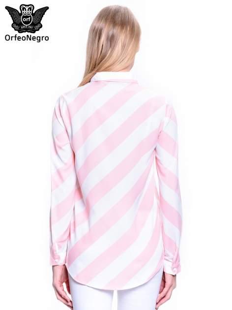 Różowo-biała koszula w skośne pasy                                  zdj.                                  4