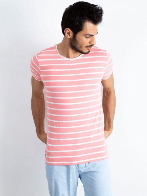 Różowo-biała koszulka męska Foreign