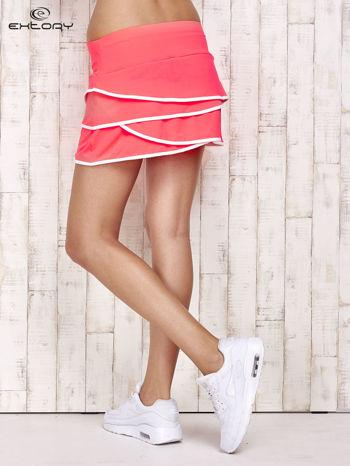 Różowo-białe spodenki spódniczka tenisowa z falbanką                                  zdj.                                  2