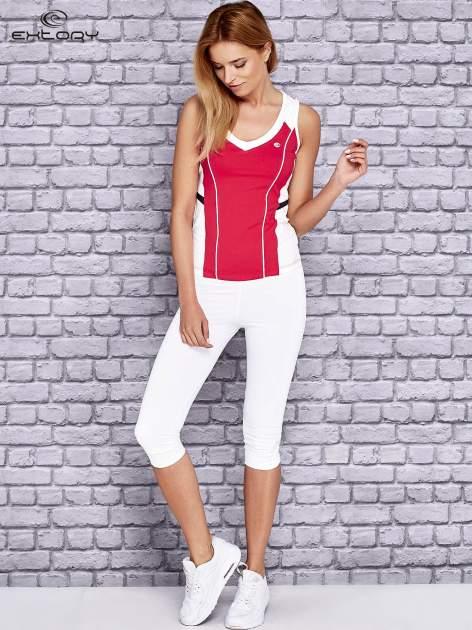 Różowo-biały damski top sportowy z nadrukiem na plecach                                  zdj.                                  4