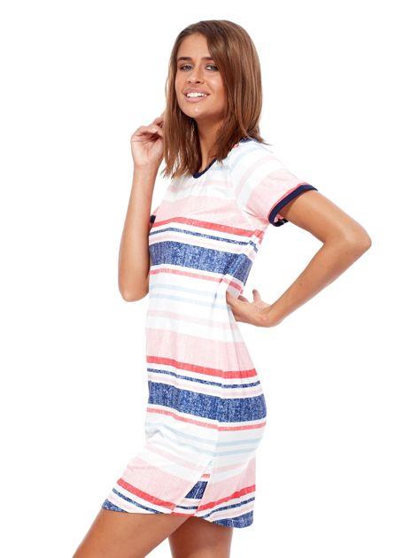 Różowo-niebieska sukienka z nadrukiem w paski                              zdj.                              3