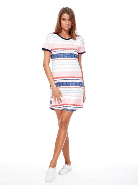 Różowo-niebieska sukienka z nadrukiem w paski                              zdj.                              4