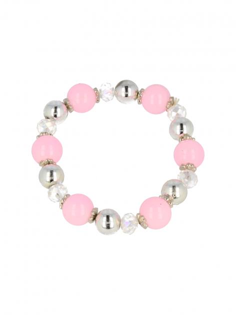 Różowo - srebrna Bransoletka koralikowa                                  zdj.                                  2