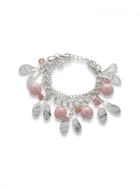 Różowo - srebrna Bransoletka z zawieszkami                                  zdj.                                  1