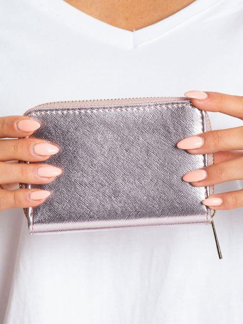 Różowo-srebrny portfel na suwak                              zdj.                              2