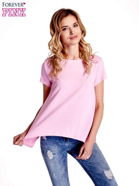 Różowy asymetryczny t-shirt                                  zdj.                                  1