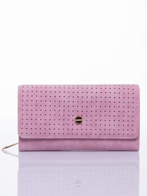 Różowy ażurowany portfel ze złotym suwakiem                                  zdj.                                  1