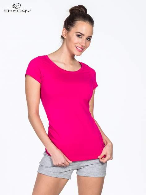 Różowy damski t-shirt sportowy basic PLUS SIZE