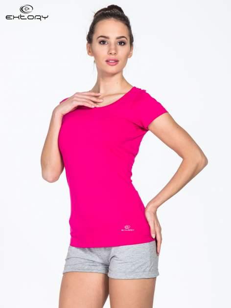 Różowy damski t-shirt sportowy basic PLUS SIZE                                  zdj.                                  3