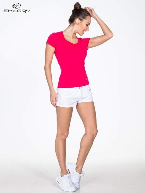 Różowy damski t-shirt sportowy z dżetami                                  zdj.                                  2