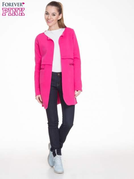 Różowy dresowy bluzopłaszczyk o pudełkowym kroju                                  zdj.                                  2