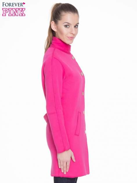 Różowy dresowy płaszcz o kroju oversize                                  zdj.                                  3