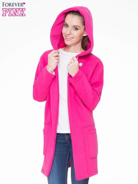 Różowy dresowy płaszcz z kapturem i kieszeniami                                  zdj.                                  5