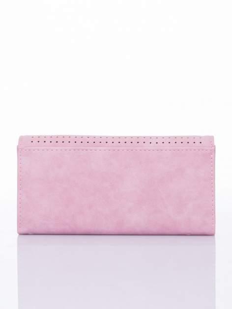 Różowy dziurkowany portfel ze złotym wykończeniem                                  zdj.                                  2