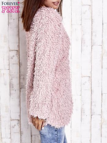 Różowy futrzany sweter kurtka na suwak                                  zdj.                                  5