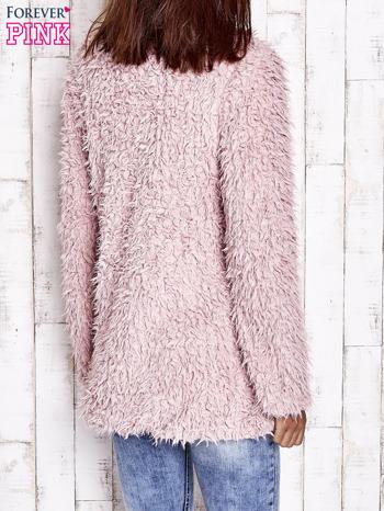 Różowy futrzany sweter kurtka na suwak                                  zdj.                                  6