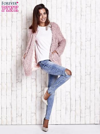 Różowy futrzany sweter kurtka na suwak                                  zdj.                                  10