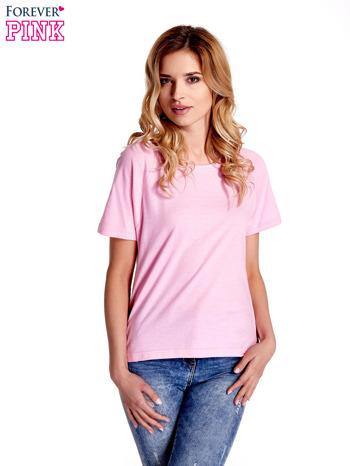 Różowy gładki t-shirt                                  zdj.                                  1