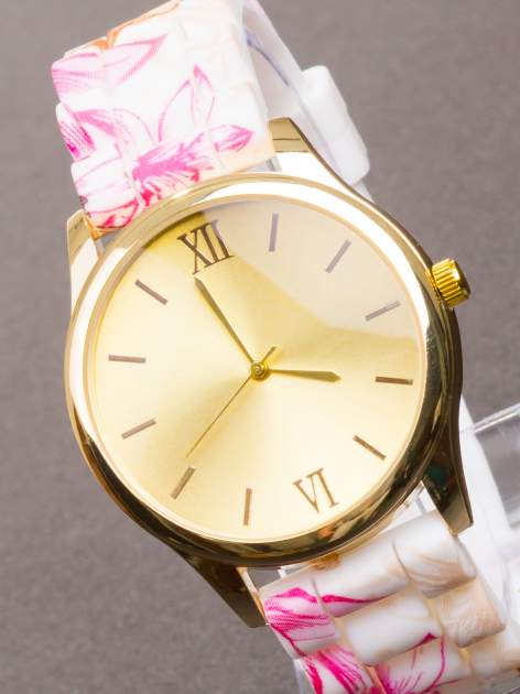 Różowy kwiatowy zegarek damski ze złotą tarcżą                                  zdj.                                  2