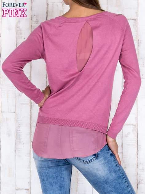 Różowy luźny sweter z siateczką i wycięciem z tyłu                                  zdj.                                  4