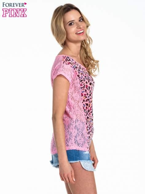 Różowy panterkowy t-shirt z koronką                                   zdj.                                  3