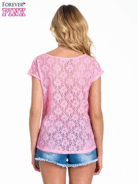 Różowy panterkowy t-shirt z koronką                                   zdj.                                  4