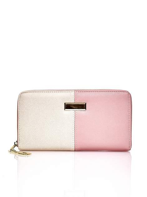 Różowy portfel two tone z uchwytem