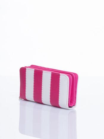 Różowy portfel w paski                                  zdj.                                  2